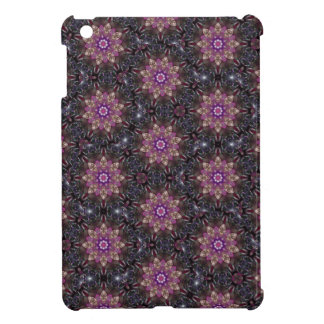 Floral Fractal Abstract Pattern in Black & Purple iPad Mini Case