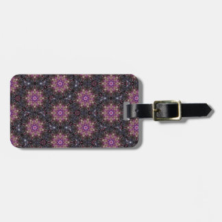 Floral Fractal Abstract Pattern in Black & Purple Luggage Tag