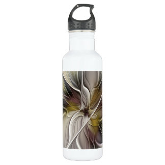 Floral Fractal, Fantasy Flower with Earth Colors 710 Ml Water Bottle