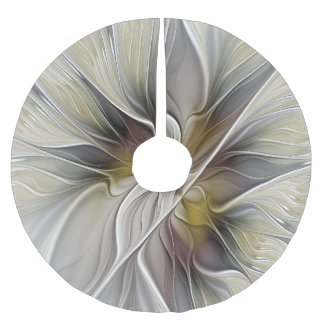 Floral Fractal, Fantasy Flower with Earth Colors Brushed Polyester Tree Skirt
