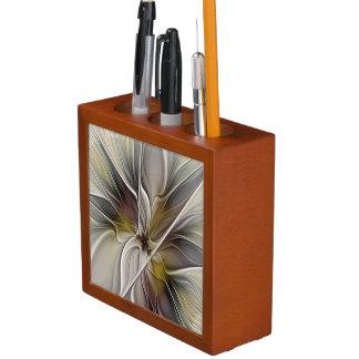 Floral Fractal, Fantasy Flower with Earth Colors Desk Organiser
