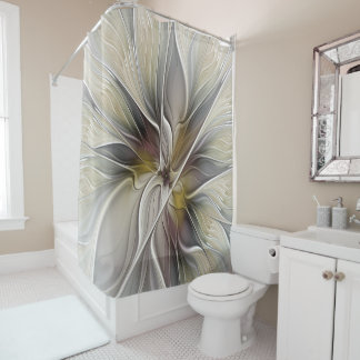 Floral Fractal, Fantasy Flower with Earth Colors Shower Curtain