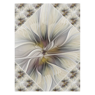 Floral Fractal, Fantasy Flower with Earth Colors Tablecloth