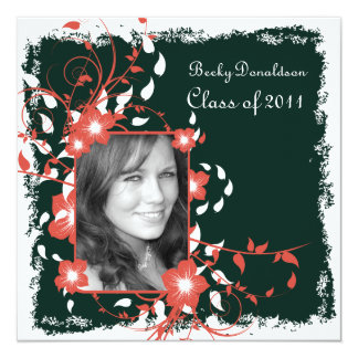 Floral Frame Black and White Graduation Invite