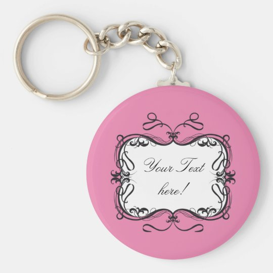 FLORAL FRAME CARD PINK BASIC ROUND BUTTON KEY RING