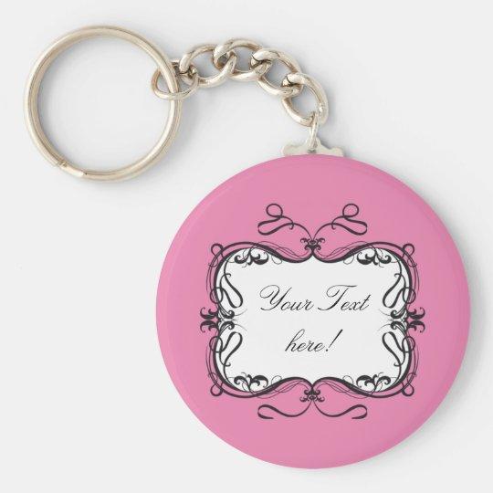 FLORAL FRAME CARD PINK KEY RING