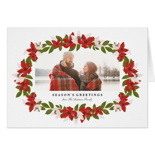Floral Frame Folded Holiday Photo Greeting Card