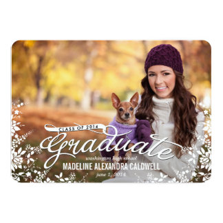 "Floral Frame Graduation Invitation - Wood 5"" X 7"" Invitation Card"