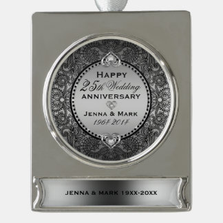 Floral Frame & Hearts 25th Wedding Anniversary Silver Plated Banner Ornament
