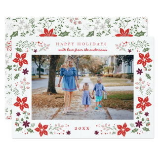 Floral Frame Holiday Photo Card in Navy