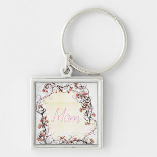 Floral Frame Mother's Day Design Key Ring