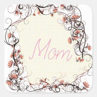 Floral Frame Mother's Day Design Square Sticker