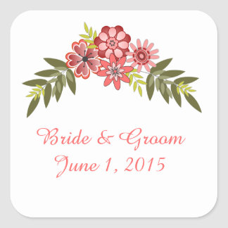 Floral Frame Pink Wedding Stickers