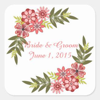 Floral Frame Pink Wedding Stickers