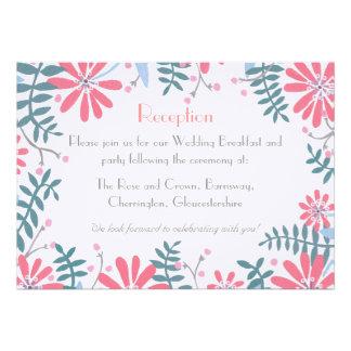 Floral Frame Wedding Reception Details Card
