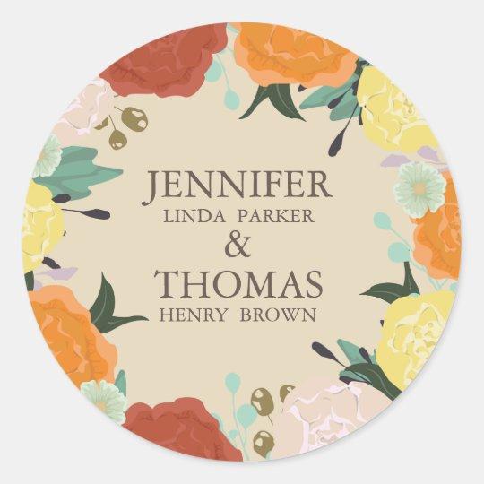 Floral frame Wedding Round Sticker. Classic Round Sticker