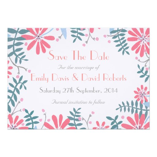 Floral Frame Wedding 'Save The Date' Invitation