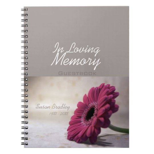 Floral Funeral Memorial Remembrance Guestbook Notebook