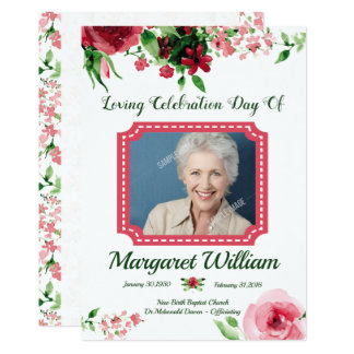 Floral Funeral Program Card Template