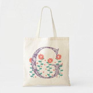 Floral 'G' Monogram Tote Bag