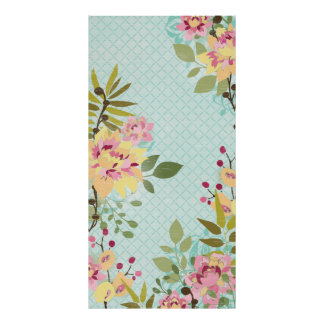 Floral Garden, Blue Background Poster