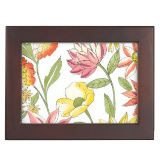 Floral Garden Design with White Background Keepsake Boxes