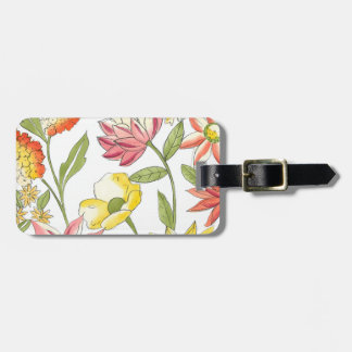 Floral Garden Design with White Background Luggage Tag