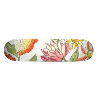 Floral Garden Design with White Background Skate Board