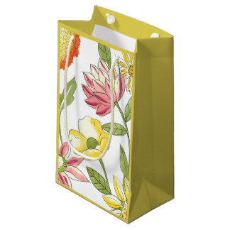Floral Garden Design with White Background Small Gift Bag