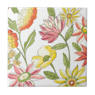 Floral Garden Design with White Background Small Square Tile