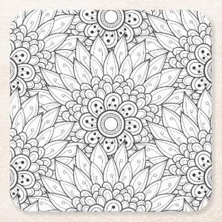 Floral Garden Doodle Square Paper Coaster