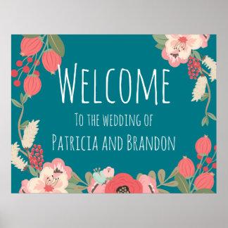 Floral Garden Pastel Wedding Entrance Poster