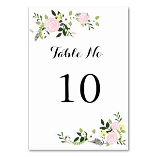 Floral Garden Table Number Card -white Table Card