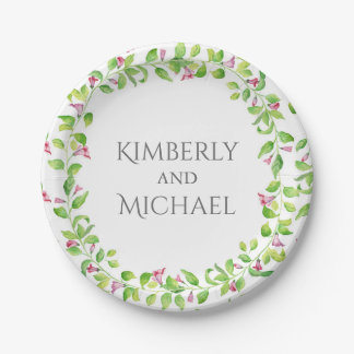floral garden vines watercolor rustic 7 inch paper plate