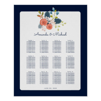Floral Garden Wedding Reception Seating Chart