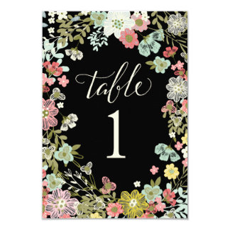 Floral Garden Wedding Table Number Cards 9 Cm X 13 Cm Invitation Card