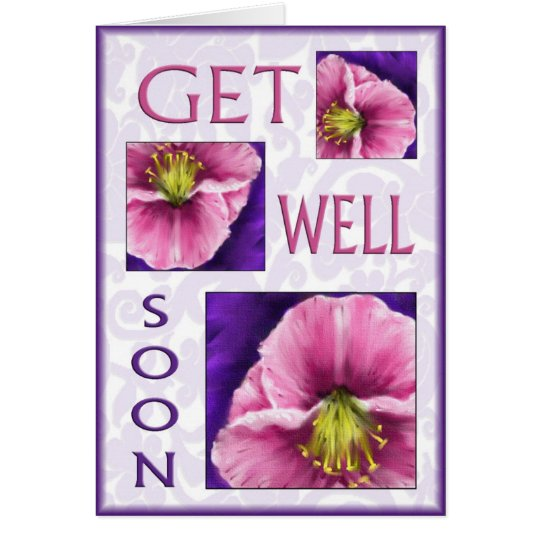 Floral get well soon wishes card