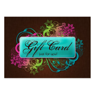 Floral Gift Card Garden Blue Brown Linen Business Cards