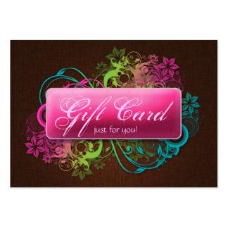 Floral Gift Card Garden Pink Brown Linen Business Card