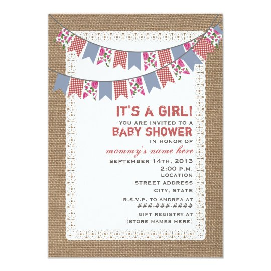 Floral & Gingham Bunting Burlap Inspired Girl Baby Card