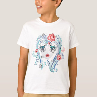 Floral Girl Face T-Shirt
