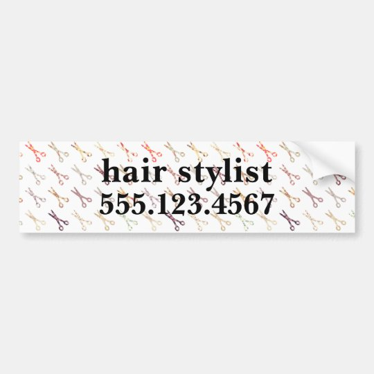 Floral girly scissors colourful hair stylist bumper sticker