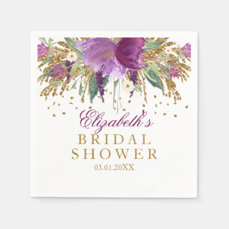 Floral Glitter Amethyst Bridal Shower Napkins Disposable Serviette
