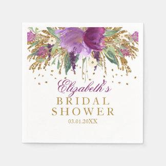 Floral Glitter Amethyst Bridal Shower Napkins Paper Napkins