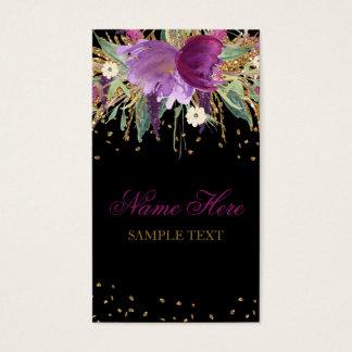 Floral Glitter Amethyst Business Card