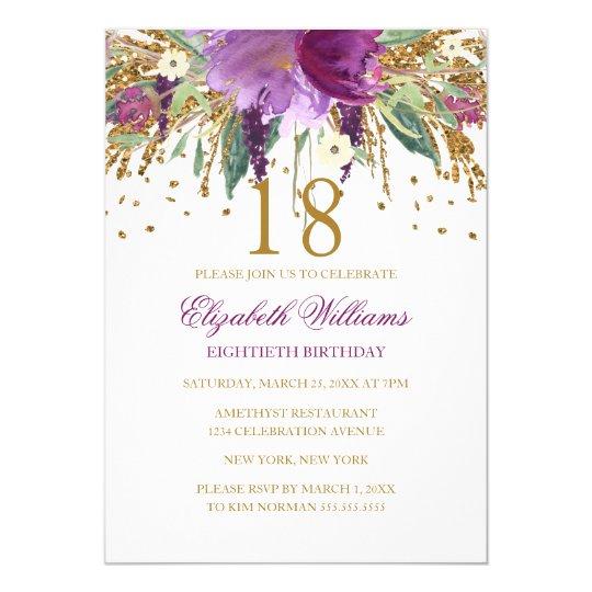Floral Glitter Sparkling Amethyst 18th Birthday Card