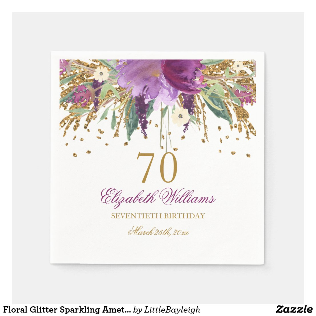 Floral Glitter Sparkling Amethyst 70th Birthday Disposable Napkin
