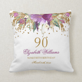 Floral Glitter Sparkling Amethyst 90th Birthday Cushion