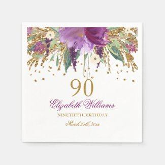 Floral Glitter Sparkling Amethyst 90th Birthday Paper Napkin
