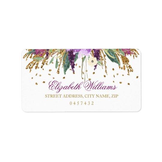 Floral Glitter Sparkling Amethyst Address Labels